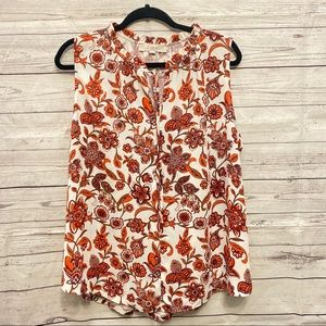 Loft | red and orange floral sleeveless blouse